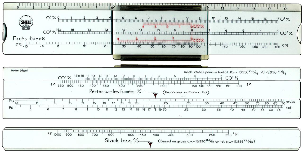 Technical slide rule of plastic, 190x32x4.4 mm. Front Scales: 17cm / O2%  CO2% e% Back Scales: CO2% = °C = Pcs Pci Other side slide °F