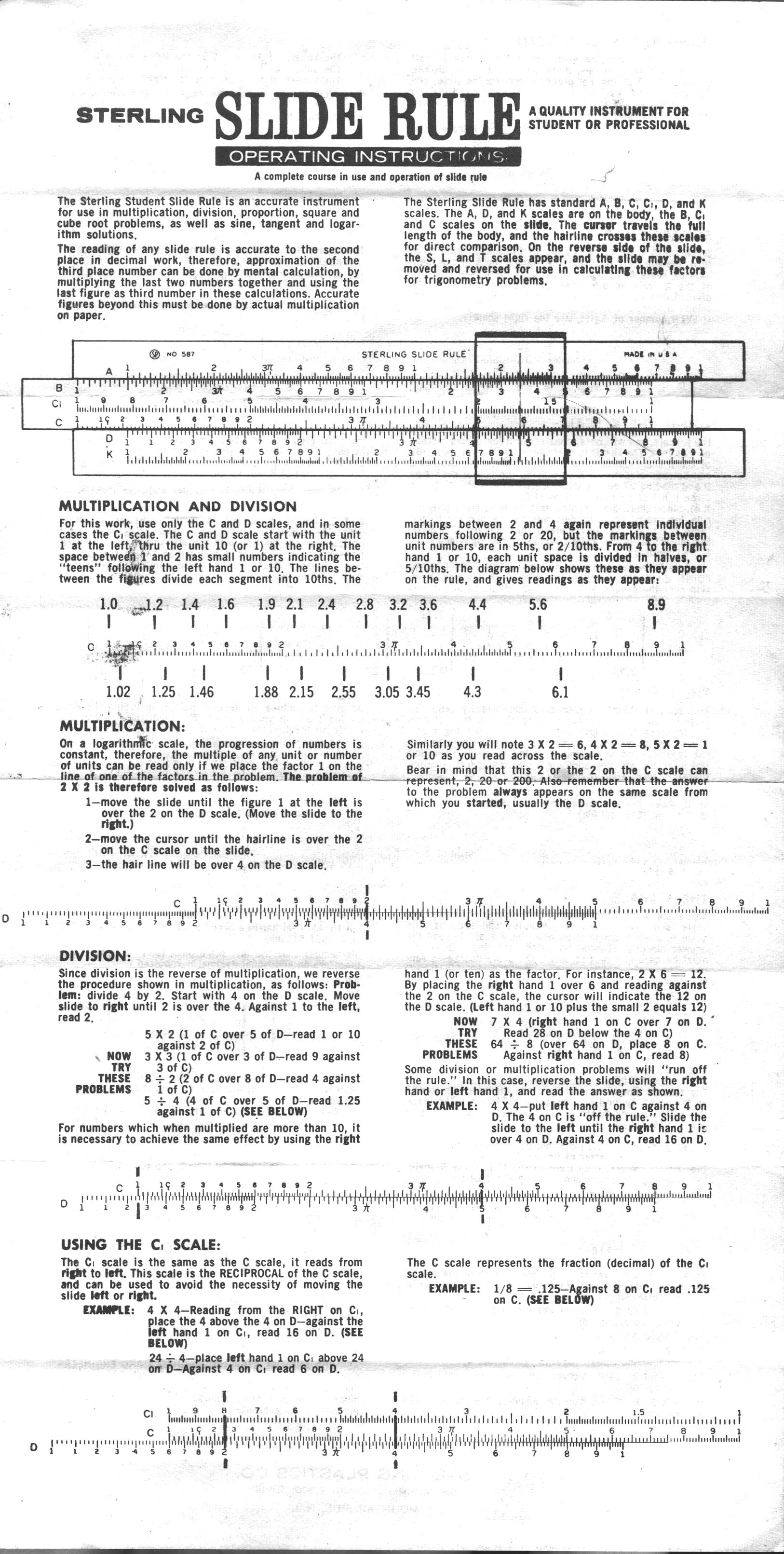 sterling slide rule instructions pdf