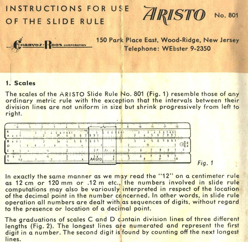 aristo slide rule instructions