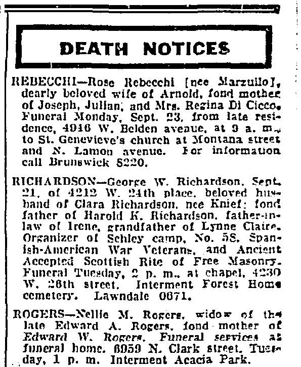 The Chicago Tribune Obituaries